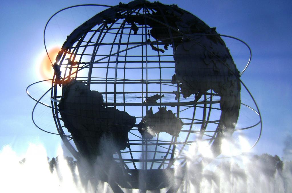 globe in clouds