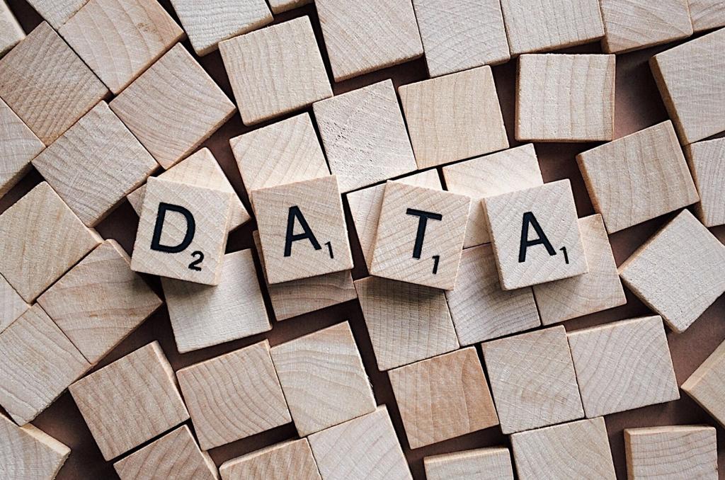 Scrabble tiles that spell Data